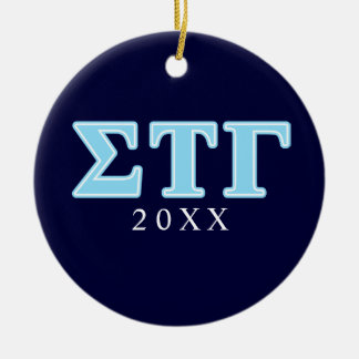 Sigma Tau Gamma Blue Letters Ceramic Ornament
