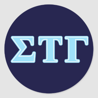 Sigma Tau Gamma Blue Letters Classic Round Sticker