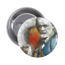 painting, unconscious, medical, freud, physicians, portrait, tempera, psychoanalysis, psychotherapy, mind, researcher, contemporaty, sigmund, medicine, Button with custom graphic design