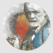 sigmund,freud,psychoanalysis,artsproject,portrait,painting,tempera,psychotherapy,existence,pencil,wall,decor,interpretation,medicine,clinical,modern,contemporaty,followers,physicians,mind,medical,researcher,unconscious, Sticker with custom graphic design