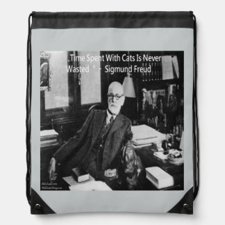 Sigmund Freud & Cat Quote Drawstring Backpack