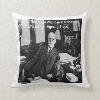 Sigmund Freud & Cat Quote Throw Pillow