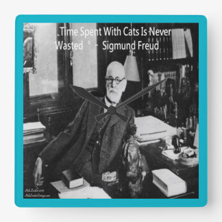 Sigmund Freud & Famous Cat Quote Wall Clock