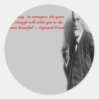 "Sigmund Freud Famous ""Struggle"" Quote Classic Round Sticker"