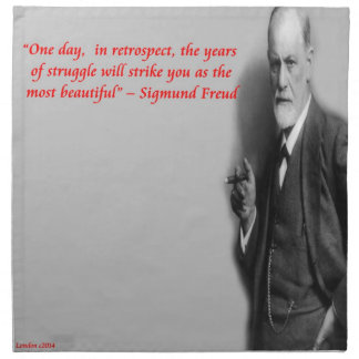 "Sigmund Freud Famous ""Struggle"" Quote Printed Napkin"