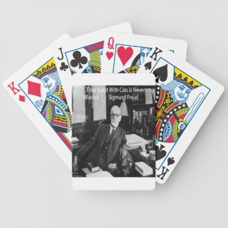 Sigmund Freud In His Office & Funny Cat Quote Bicycle Playing Cards