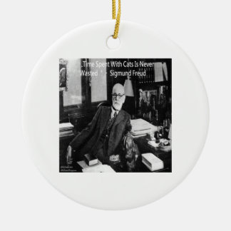 Sigmund Freud In His Office & Funny Cat Quote Ceramic Ornament