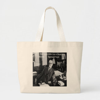 Sigmund Freud In His Office & Funny Cat Quote Large Tote Bag