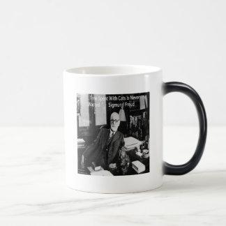 Sigmund Freud In His Office & Funny Cat Quote Magic Mug