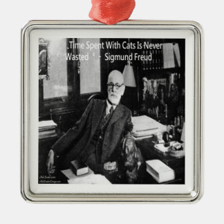 Sigmund Freud In His Office & Funny Cat Quote Metal Ornament