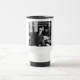 Sigmund Freud In His Office & Funny Cat Quote 15 Oz Stainless Steel Travel Mug