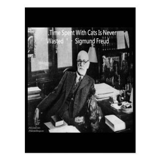 Sigmund Freud In His Office & Funny Cat Quote Postcard