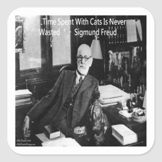 Sigmund Freud In His Office & Funny Cat Quote Square Sticker