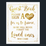 "sign a heart guest book wedding sign gold<br><div class=""desc"">wedding guest book sign</div>"