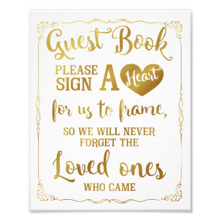 sign a heart guest book wedding sign gold