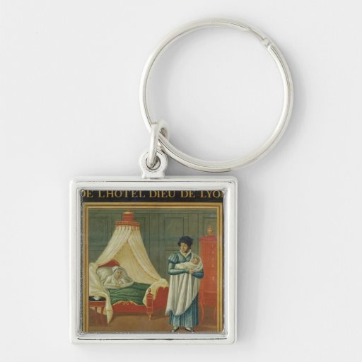 Sign advertising the services of a midwife keychain