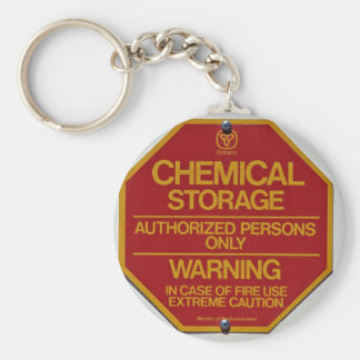 Sign board indicating Chemical storage Keychain