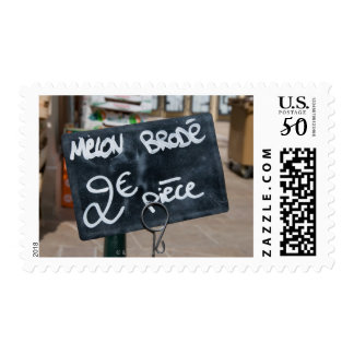 Sign for price of melons in Euros Postage