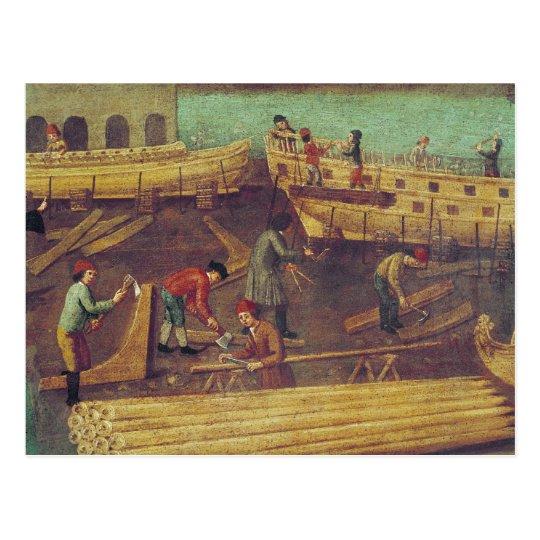 Sign for the Marangoni Family of shipbuilders Postcard