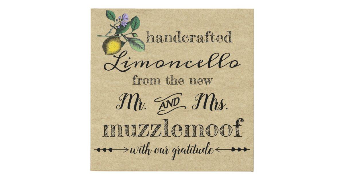 Sign For Vintage Limoncello Wedding Favors Zazzle