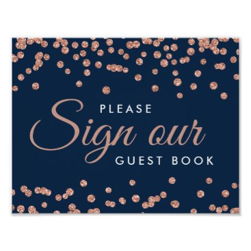 Wedding Themed Sign Guestbook Rose Gold Glitter Confetti Navy