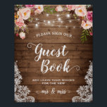 "Sign Guestbook Rustic Floral String Lights Lace<br><div class=""desc"">Rustic Floral String Lights Lace 