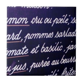 Sign in French for food Ceramic Tile