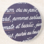 Sign in French list MENU Coasters