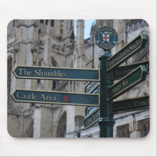 Sign in front of York Minster - York, England Mouse Pad