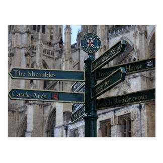 Sign in front of York Minster - York, England Postcard