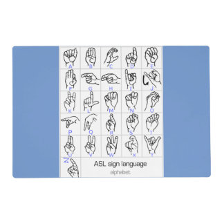 SIGN LANGUAGE ALPHABET laminated placemat