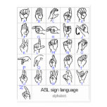 SIGN LANGUAGE ALPHABET postcard