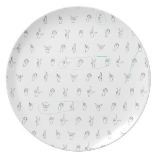 Sign Language Dinner Plate