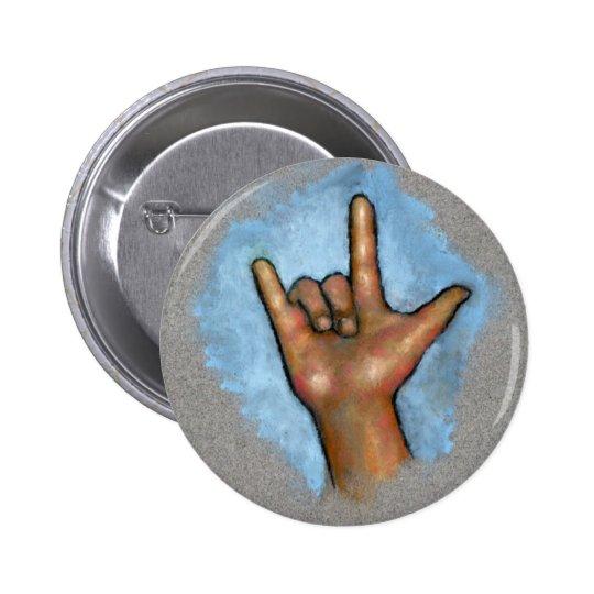 Sign Language: Hand Signing: I Love You: Pastel Pinback Button