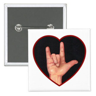 SIGN LANGUAGE I LOVE YOU HEART, HAND 2 INCH SQUARE BUTTON