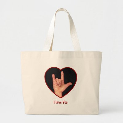 "SIGN LANGUAGE I LOVE YOU HEART, HAND BAGS by joyart. (multiple products selected) Artwork: ""I Love You: American Sign Language"" Oil Pastel"