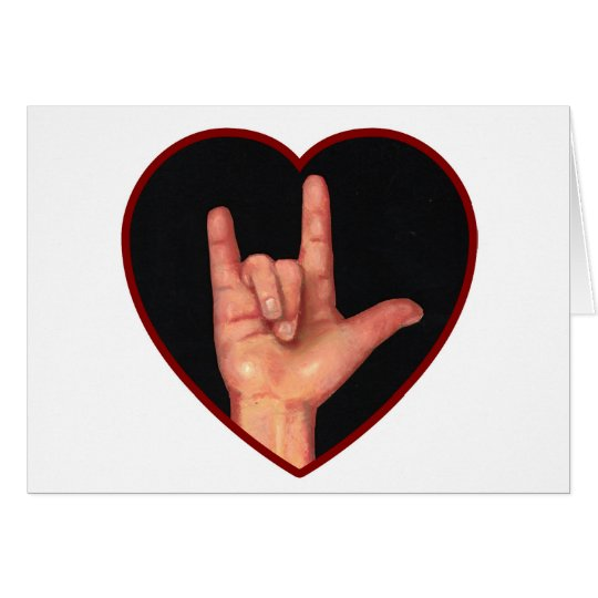 SIGN LANGUAGE I LOVE YOU HEART, HAND CARD