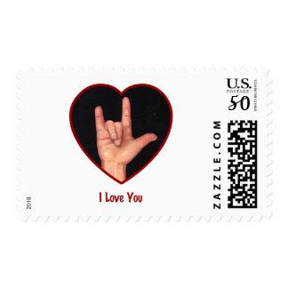 SIGN LANGUAGE I LOVE YOU HEART, HAND POSTAGE
