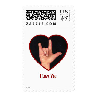 SIGN LANGUAGE I LOVE YOU HEART, HAND POSTAGE STAMP