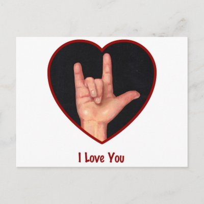 "SIGN LANGUAGE I LOVE YOU HEART, HAND POST CARDS by joyart. (multiple products selected) Artwork: ""I Love You: American Sign Language"" Oil Pastel"