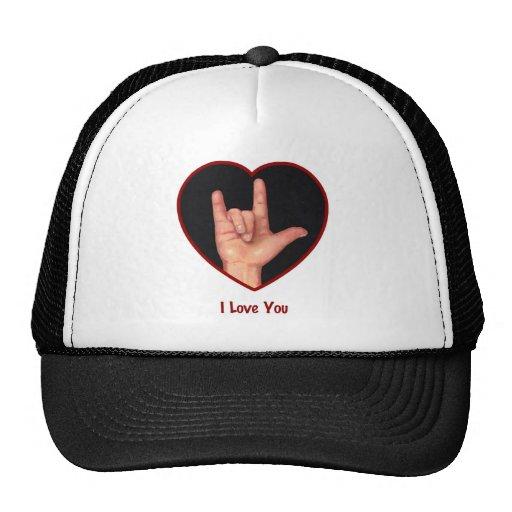 SIGN LANGUAGE I LOVE YOU HEART, HAND TRUCKER HAT