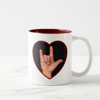 SIGN LANGUAGE I LOVE YOU HEART, HAND Two-Tone COFFEE MUG