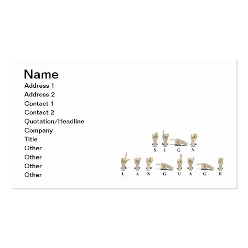 Sign Language in Ameslan Business Card Template