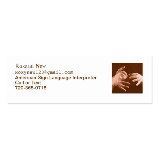 Translator business cards skinny size bizcardstudio sign language interpreter business card reheart Gallery
