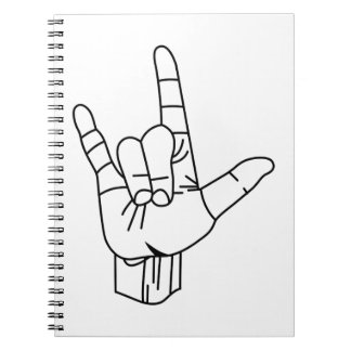 Sign Language Outline Spiral Note Books
