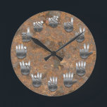 """Sign Language -Rusty Round Clock<br><div class=""""desc"""">An American Sign Language clock,  with faux metallic hands on a faux rusty iron backing.</div>"""