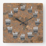Sign Language -Rusty Square Wall Clock