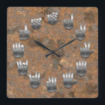 """Sign Language -Rusty Square Wall Clock<br><div class=""""desc"""">An American Sign Language clock,  with faux metallic hands on a faux rusty iron backing.</div>"""