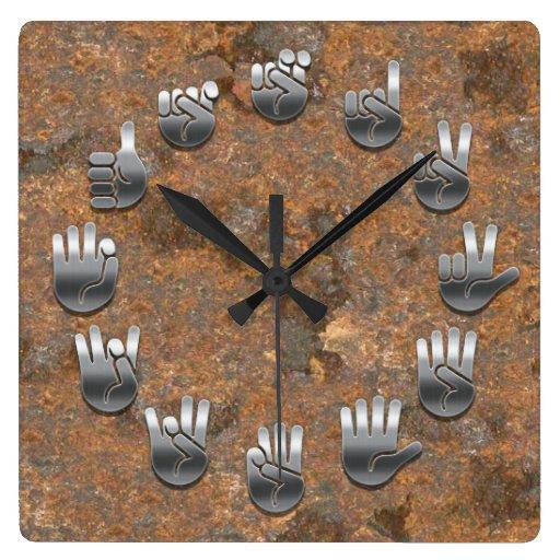 Sign Language -Rusty Square Wallclock