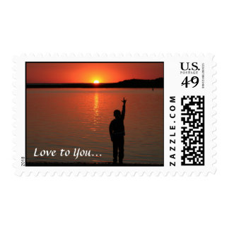 """Sign Language Sunset """"Love to You"""" Postage Stamp"""